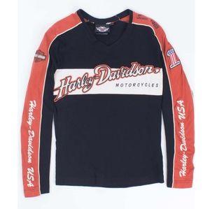 Vintage Harley Davidson Orange Long Sleeve Top